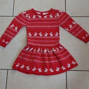 Toddler Girls Bunny Soft Knit Sweater Dress